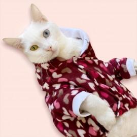 Mini Hearts Polar Kedi Tulumu,Kıyafeti