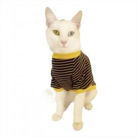 Navy Bee Stripes Oval Yaka Tişört Kedi Kıyafeti Kedi Elbisesi
