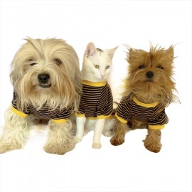 Navy Bee Stripes Oval Yaka Tişört Köpek Kıyafeti Köpek Elbisesi