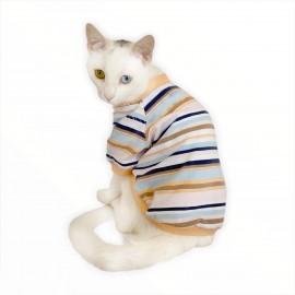Nude Stripes Oval Yaka Tişört Kedi Kıyafeti Kedi Elbisesi