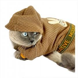 Brown Native Bunny Kapsonlu Sweatshirt Kedi Süeteri Kedi Kıyafeti