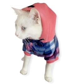Mini Suqare Pie Kapşonlu Sweatshirt Ceket Kedi Süeteri Kıyafeti