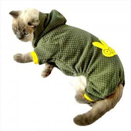 Yellow Bunny Green Kedi Tulumu Kedi Kıyafeti