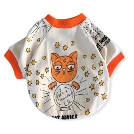 Orange Cat Oval Yaka Tişört Summer  Köpek Kıyafeti Köpek Elbisesi