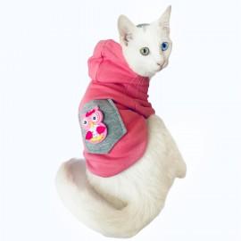Pembe Baykuş Sweatshirt Kedi Süeteri Kedi Kıyafeti