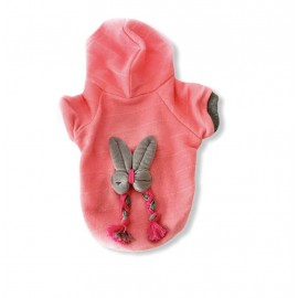 Pink Bunny Braid Kapşonlu Sweatshirt Kedi Süeteri Kedi Kıyafeti