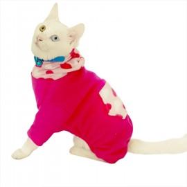 Pink Hearts Polar Kedi Tulumu Kedi Kıyafeti