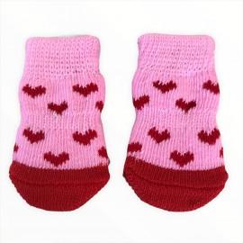 Pink Red Hearts Köpek Çorabı