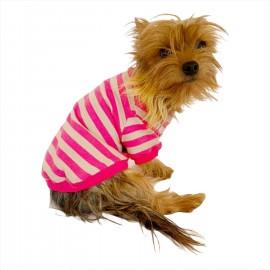 Pinky Grey Stripe Oval Yaka Tişört Köpek Kıyafeti Köpek Elbisesi