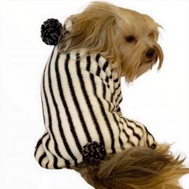 Ponponlu Siyah Zebra Köpek Tulumu Köpek Kıyafeti