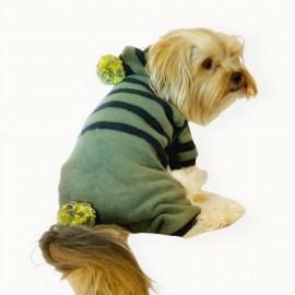 Ponponlu Yeşil Siyah Çizgili Köpek Tulumu Köpek Kıyafeti