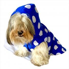 Puantiyeli Mavi Yağmurluk Kapşonlu  Köpek Yağmurluğu
