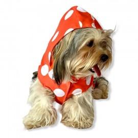 Puantiyeli Turuncu Yağmurluk Kapşonlu  Köpek Yağmurluğu