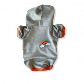 Rainbow Gri Kapşonlu Sweatshirt Kedi Süeteri Kedi Kıyafeti