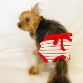 Red Grey Stripe Kemique's Secret Köpek İç Çamaşırı  REgl Külot  DON