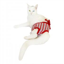 Red Mega Stripes Kemique's Secret Kedi İç Çamaşırı  Regl Külot  Don