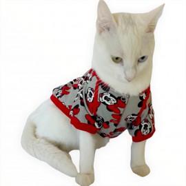 Mickey Red İnce Kedi Ceketi Kedi Kıyafeti Kedi Elbisesi Kedi Modası