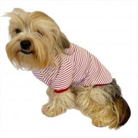Red Stripes Mover Oval Yaka Tişört Köpek Kıyafeti Köpek Elbisesi