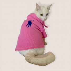 RL Toz Pembe Polo Yaka Tişört Kedi Kıyafeti  Kedi Elbisesi