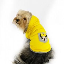 Sarı Sevimli Fare Kapşonlu Sweat by Kemique Köpek Kazağı