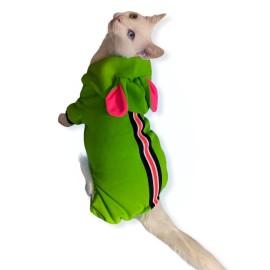 Shipy Pink Stripe Kulaklı Kedi Tulumu,Kıyafeti