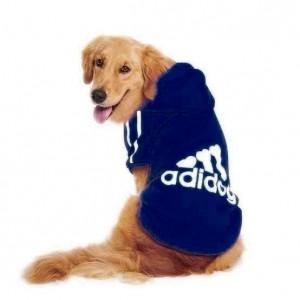 Lacivert Adidog Kapşonlu Sweatshirt, Orta ve Büyük Irklar için Köpek Kıyafeti,
