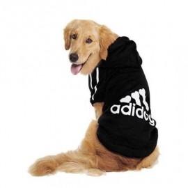 Adidog Black Hoodie Kapşonlu Sweatshirt, Orta ve Büyük Irklar için Köpek Kıyafeti,
