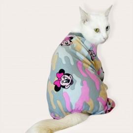 Minnie Kamuflaj Penye Tulum Kedi Tulumu Kedi Elbisesi
