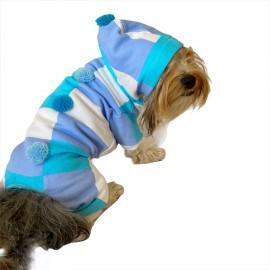 Trio Blue Squares Köpek Tulumu Köpek Kıyafeti