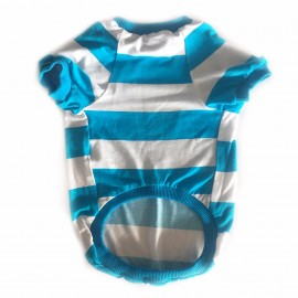 Wide Blue Stripes Oval Yaka Tişört Kedi Kıyafeti Kedi Elbisesi