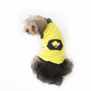Yellow Bee Oval Yaka Tişört Köpek Kıyafeti Köpek Elbisesi