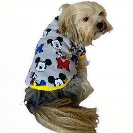 Mickey Yellow Oval Yaka Tişört Köpek Kıyafeti Köpek Elbisesi